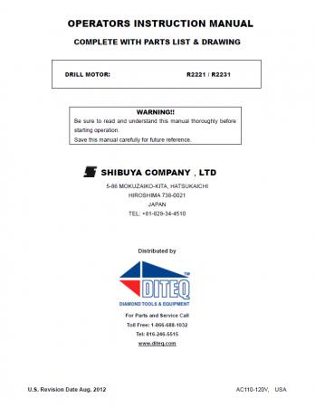 Shibuya TS-402 & TS-403 Motor Parts List R-2221-R-2231