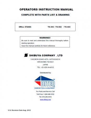 Shibuya TS-353, TS-402, TS-403, Column and Base Parts List