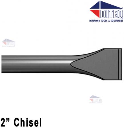 """2"""" Chisel 18"""" .580"""" Hex Shank Round Collar"""