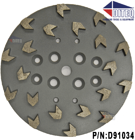"10"" Concrete Floor Grinding Head 20-Segment Arrowhead"
