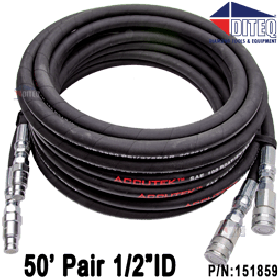 HD Pair of Hydraulic Hoses W/Flush-Face Fittings