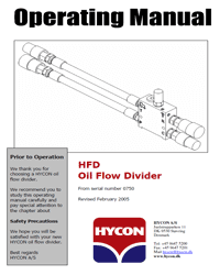 Hycon Flow Divider manual