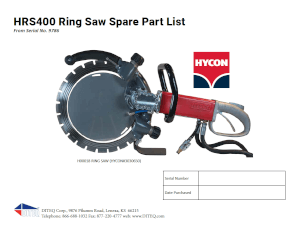 Hycon Ring Saw Parts List