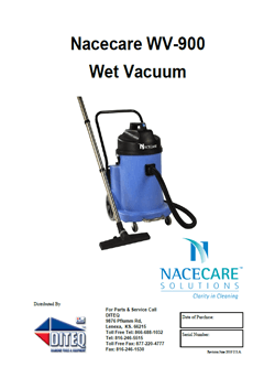 Nacecare WV900 parts list